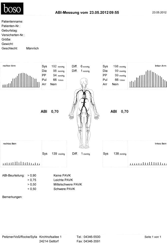 Durchblutungsmessung Beinschlagader